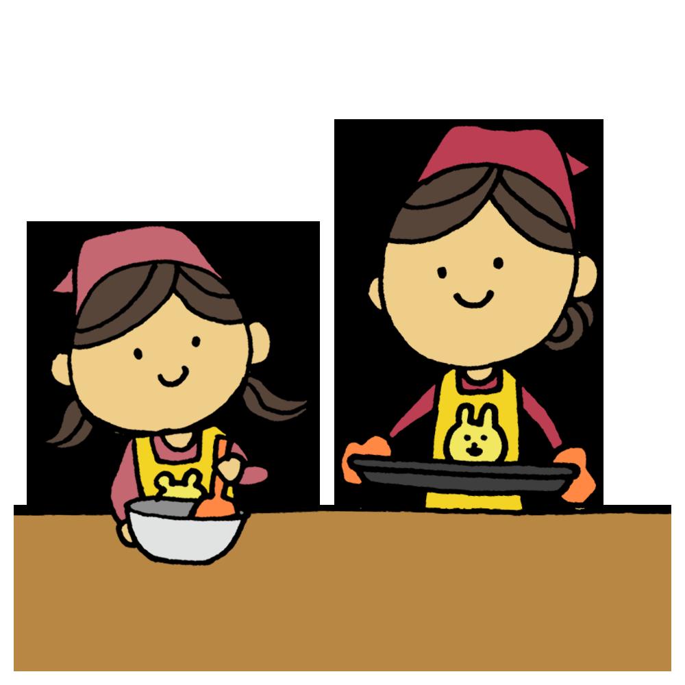 お菓子作りをするお母さんと娘のフリーイラスト