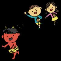 鬼に向かって豆を投げる男の子と女の子のフリーイラスト