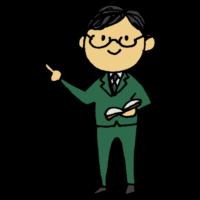 先生,手書き風,男性,指をさす,指す,教材,せんせい,スーツ,教える,教授,勉強,学校,授業,学ぶ,教育,教師,担任,センセイ,人物,眼鏡,優しそう