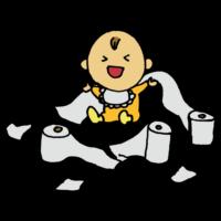 トイレットペーパーでいたずらする赤ちゃんのフリーイラスト