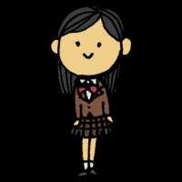 ブレザーを着た女子学生のフリーイラスト