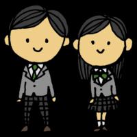 ブレザーを着た男子学生と女子学生のフリーイラスト
