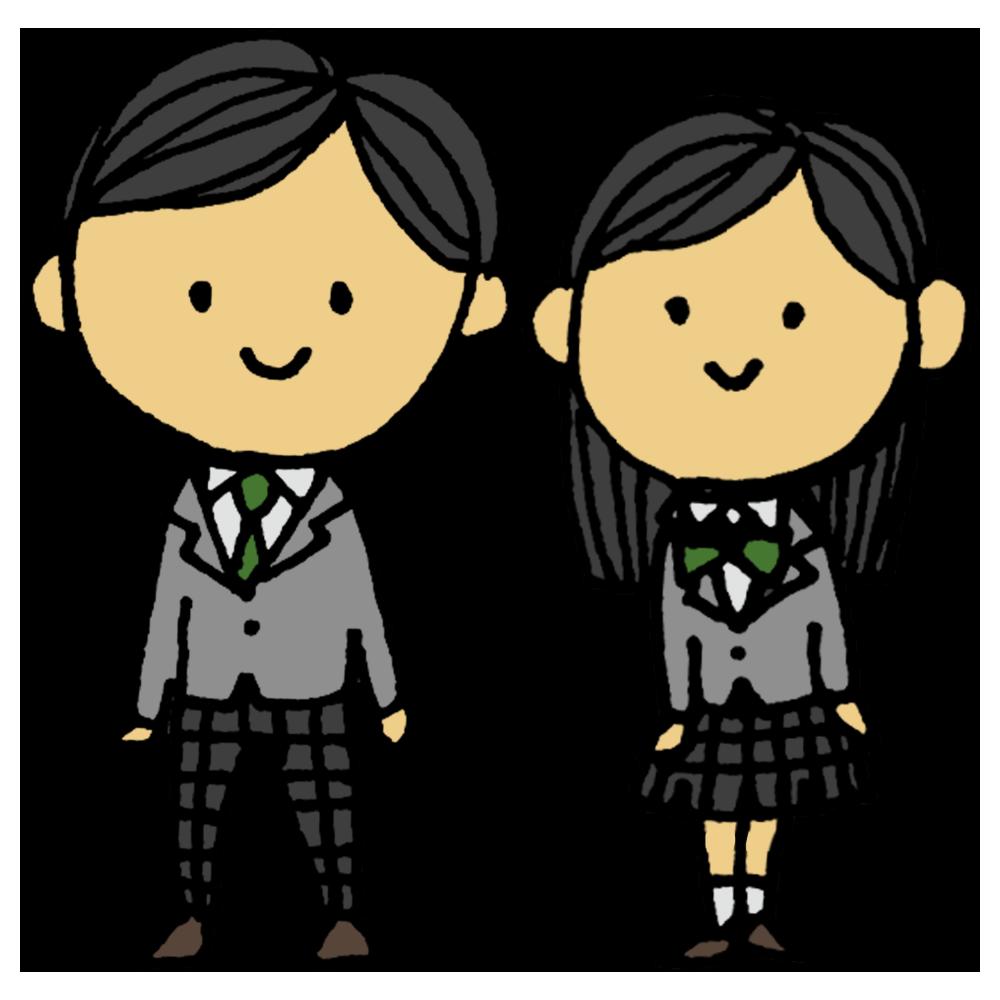 ブレザー,男子学生,女子学生,男の子,女の子,男子中学生,女子中学生,男子高校生,女子高校生,2人,男女,男子,女子,制服,正装,ぶれざー,立つ,人物,手書き風