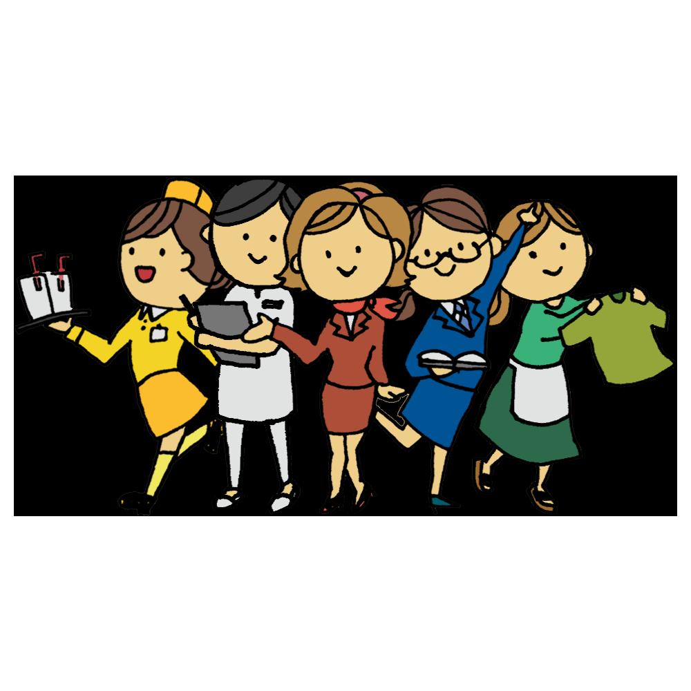 人物,女性陣,女性,働く,仕事,職業,キャリアウーマン,しごと,働く女性,5人,女性達,ウエイトレス,看護師,キャビンアテンダント,先生,家政婦,主婦