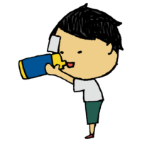 水筒で飲み物を飲む男の子のフリーイラスト