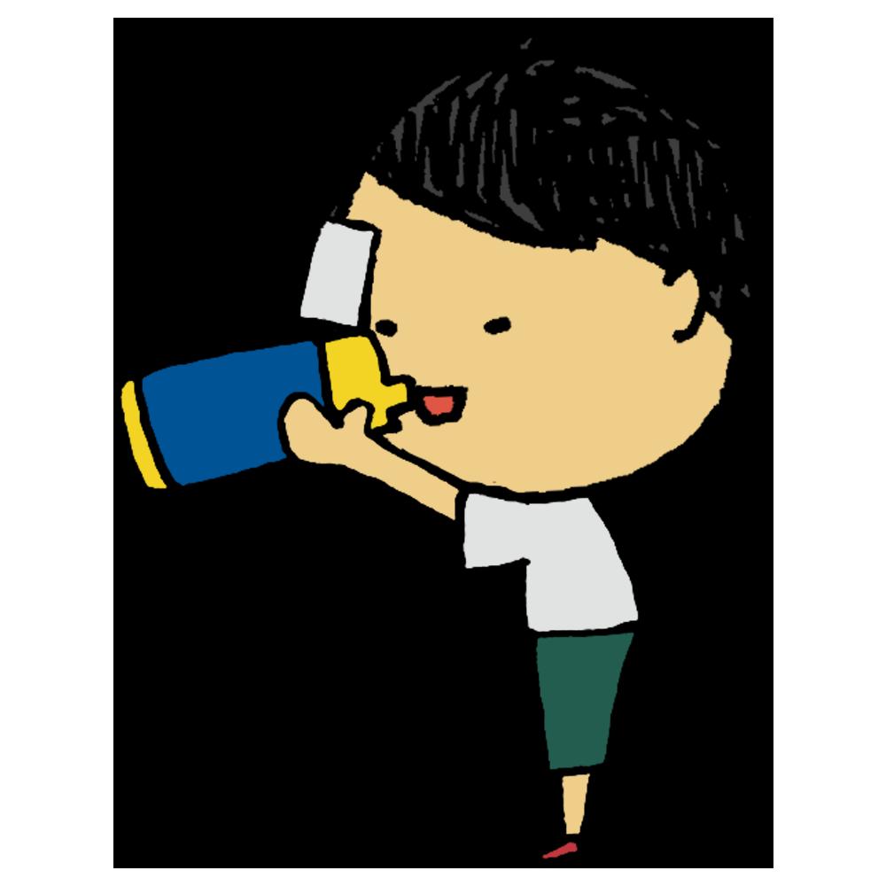 水筒,飲み物,口をつけて飲む,男の子,手書き風,人物,食器,持ち運び,水分,水分補給,口