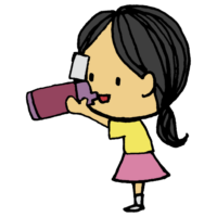 水筒で飲み物を飲む女の子のフリーイラスト