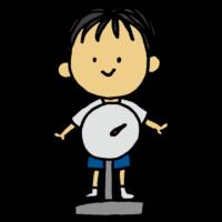 体重を測定する男の子のフリーイラスト