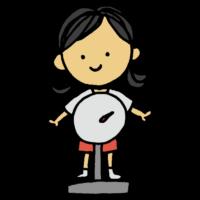 体重を測定する女の子のフリーイラスト