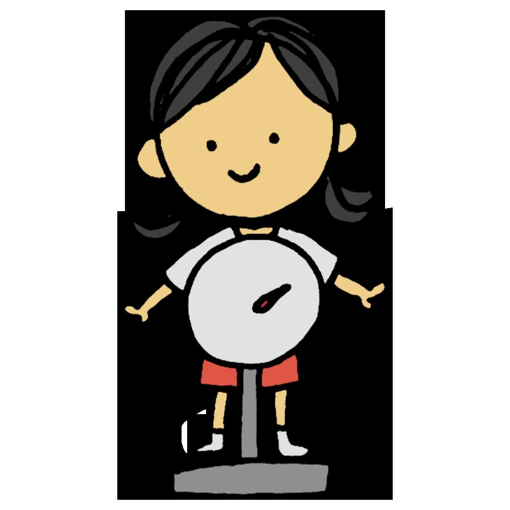 体重測定,体重,測定,女の子,小学生,中学生,子供,測る,体操着,検査,健診,健康診断,計測,身体測定,学生,学校,手書き風,人物