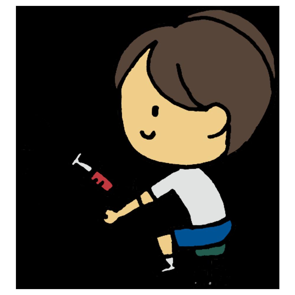 血液検査,血液,検査,採血法,採血,病状,調べる,臨床検査,臨床検査技師,健診,学校,健康診断,貧血,血,注射,医療,人物,手書き風,男の子