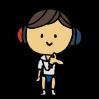 聴力検査をしてもらう男の子のフリーイラスト