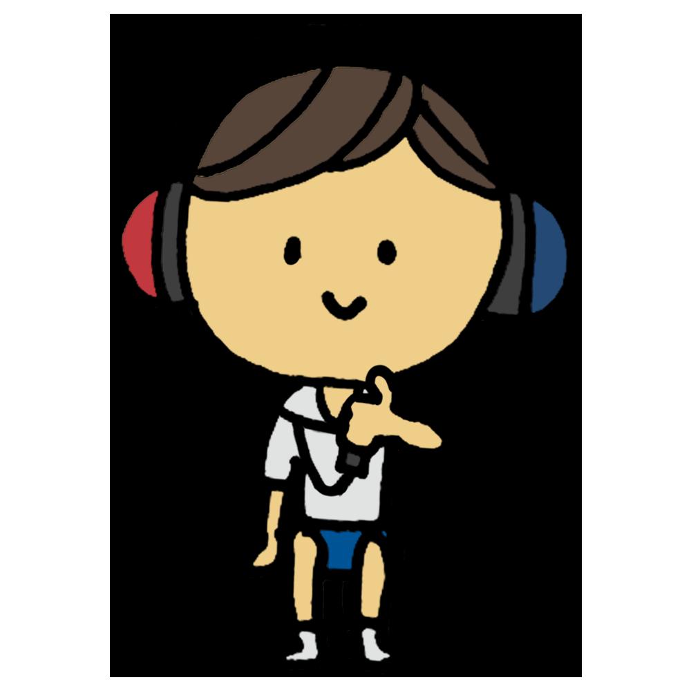 聴力,検査,診断,健康診断,聴力検査,標準純音聴力検査,雑音,ヘッドフォン,耳,両耳,ヘルツ,音,高さ,難聴,男の子,手書き風,人物,学校,保健,医療