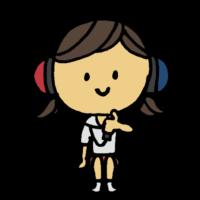 聴力検査をしてもらう女の子のフリーイラスト