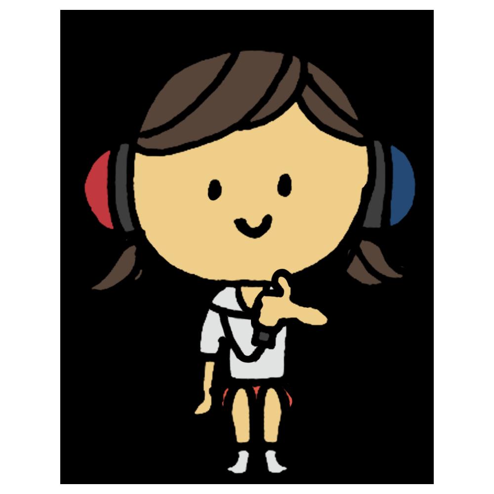 聴力,検査,診断,健康診断,聴力検査,標準純音聴力検査,雑音,ヘッドフォン,耳,両耳,ヘルツ,音,高さ,難聴,女の子,手書き風,人物,学校,保健,医療