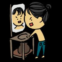 鏡を見て自分を叱咤する男性のフリーイラスト
