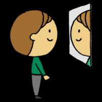 鏡を見る男性のフリーイラスト