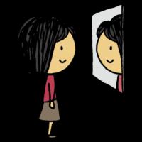 鏡を見る女性のフリーイラスト