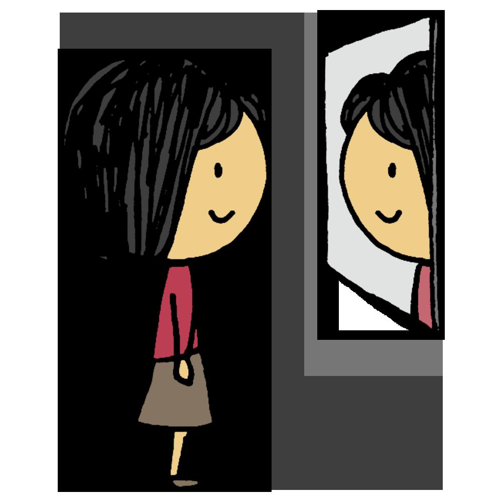 鏡,見る,女性,鏡を見る,女,ミラー,身だしなみ,顔,整える,手書き風,人物,化粧