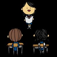 スピーチをする女子学生のフリーイラスト