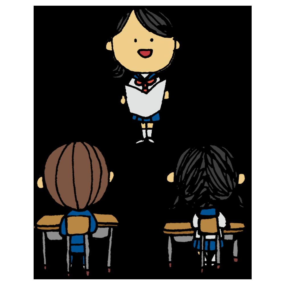 スピーチ,女子学生,女子,女の子,中学生,高校生,話す,トーク,発表,楽しい,プレゼン,生徒,学校,教室,クラスメイト,後姿