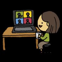オンラインお茶会をする女性のフリーイラスト