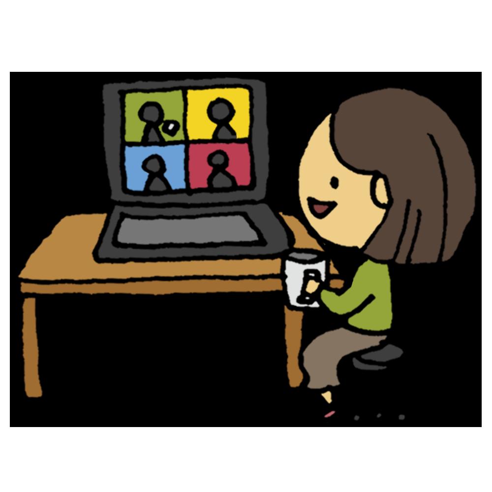 ウェブ,WEB,web,オンライン,お茶会,話す,同窓会,友達,談笑,楽しい,笑う,人物,女性,面白い,パソコン,電子機器,お茶,茶,手書き風