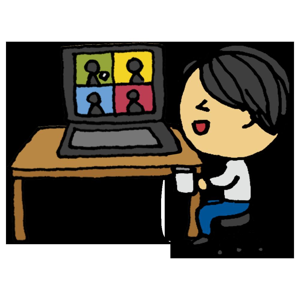 ウェブ,WEB,web,オンライン,お茶会,話す,同窓会,友達,談笑,楽しい,笑う,人物,男性,面白い,パソコン,電子機器,お茶,茶,手書き風