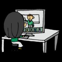 オンラインセミナーに参加する女性のフリーイラスト
