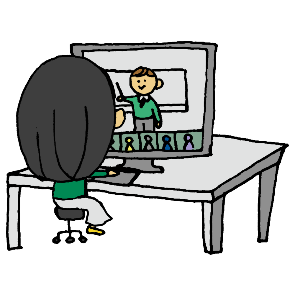 オンラインセミナー,オンライン,パソコン,電化製品,精密機器,セミナー,話す,トーク,聴く,聞く,勉強,女性,手書き風,人物