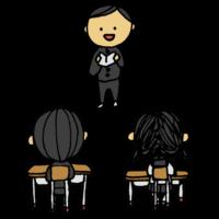 スピーチをする男子学生のフリーイラスト