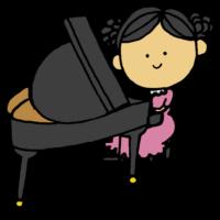 ピアノを弾く女の子のフリーイラスト