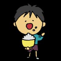 白米を食べる男の子のフリーイラスト