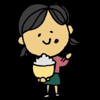 白米を食べる女の子のフリーイラスト