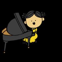 歌いながらピアノを弾く女の子のフリーイラスト