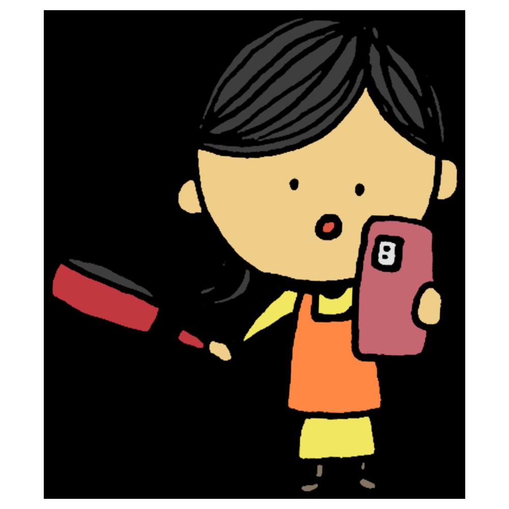 スマホ,携帯,ケータイ,見る,料理,作る,クッキング,フライパン,レシピ,手書き風,女性,人物