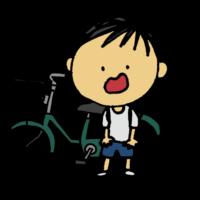 自転車の鍵をなくした男の子のフリーイラスト