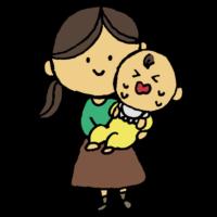 泣く赤ちゃんをあやす女性のフリーイラスト