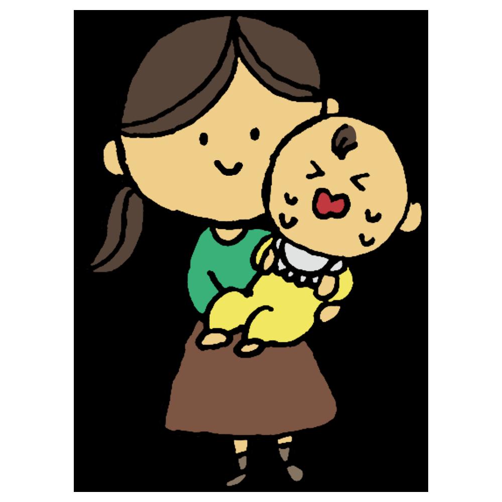 手書き風,人物,赤ちゃん,赤ん坊,あやす,泣く,女性,ベイビー,揺らす,ゆらゆら