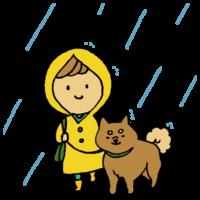雨の中で犬の散歩をする女性のフリーイラスト