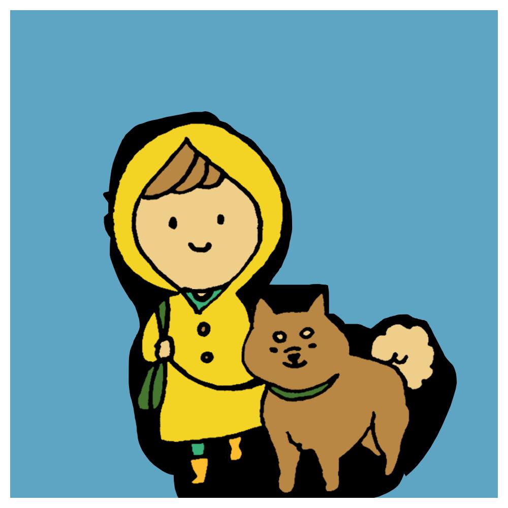 手書き風,人物,動物,犬,ワンちゃん,ワンコ,柴犬,女性,散歩,犬の散歩,雨,雨の中,さんぽ,いぬ,ウォーキング,健康,運動
