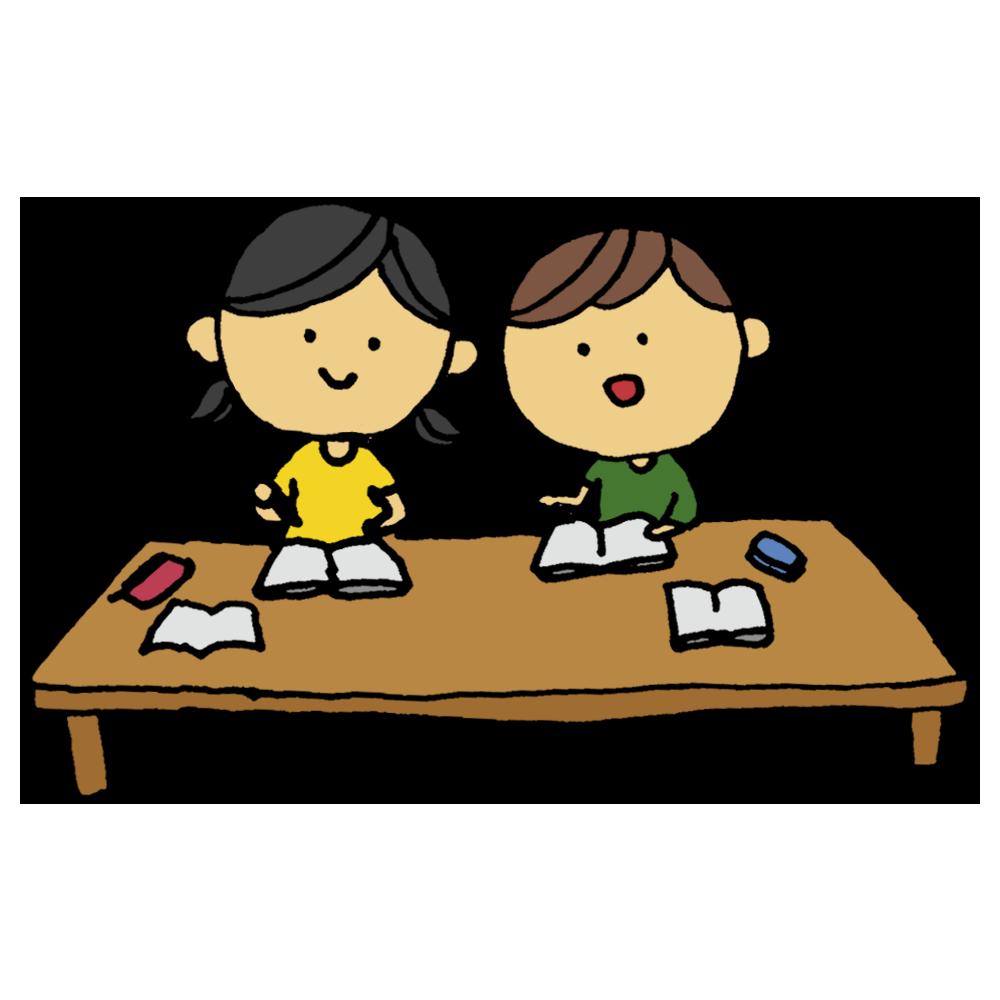 手書き風,人物,男の子,女の子,勉強,一緒,友達と勉強,一緒に勉強,2人,学習,学生,小学生,学ぶ,友達,子供