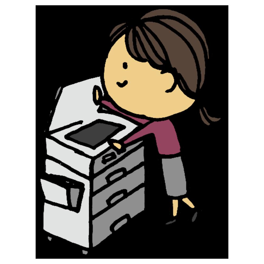 コピー,コピー機,女性,人物,手書き風,機械,電子機器,仕事,オフィス,複製,印刷,スキャン