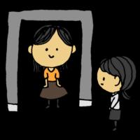 ボディスキャナーのゲートを通る女性のフリーイラスト
