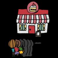 ケーキ屋に並ぶ姿の人たちのフリーイラスト