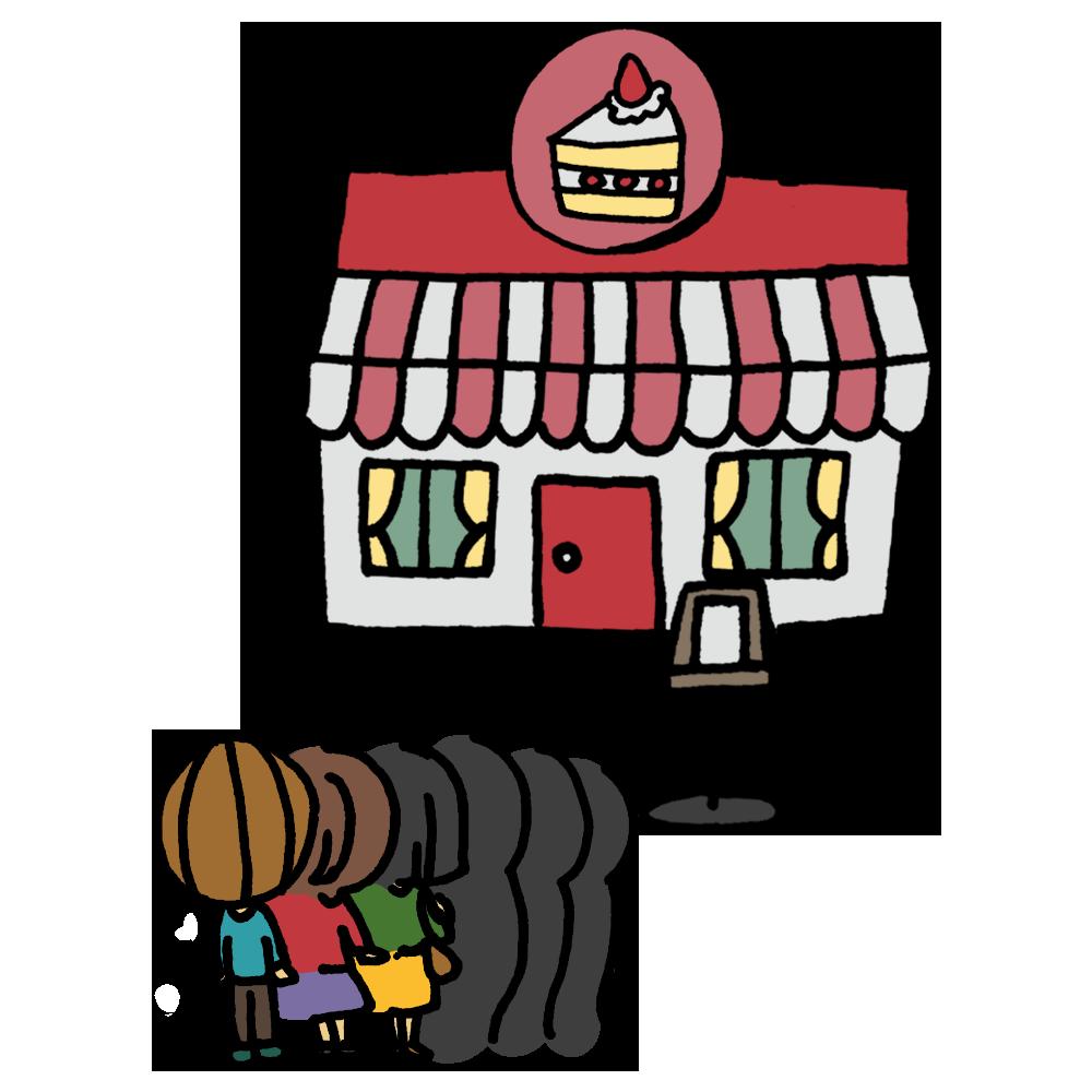 手書き風,人物,建物,ケーキ屋,ケーキ屋さん,お店,男性,女性,行列,列,並ぶ,長蛇,大人気,人気店