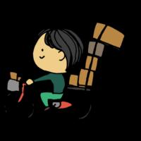 荷台の荷物が落ちそうな自転車の男性のフリーイラスト