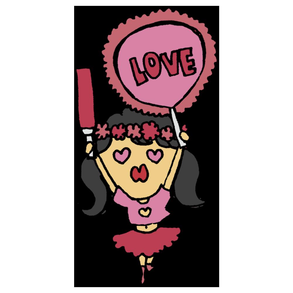 手書き風,人物,女性,アイドル,オタク,ファン,ドルオタ,推し,応援,うちわ,ペンライト,手作りうちわ,好き,ハート,大好き,キュン,花冠,LOVE