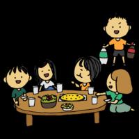 友達とホームパーティーをする男性のフリーイラスト