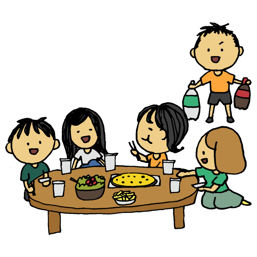 手書き風,人物,男性,女性,仲良し,5人,ホームパーティー,パーティ,料理,ピザ,炭酸,ジュース